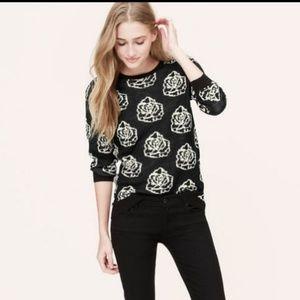 $89 Ann Taylor Loft rose print sweater M